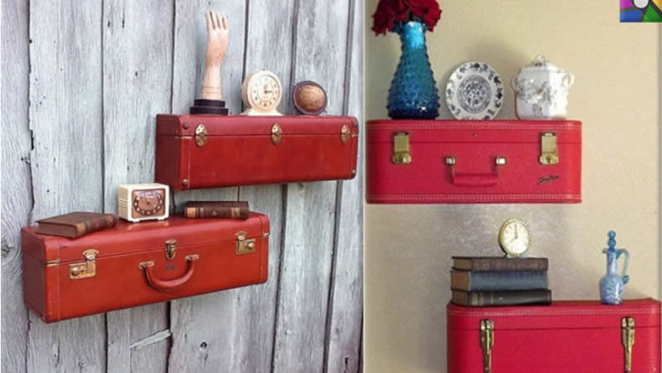 Eski bavullardan salonunuza harika raflar yapın!