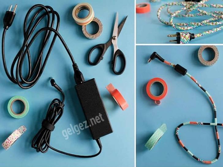 Evde görüntüyü bozan kabloları süsleyerek kapatalım | Renkli bantlarla kablolarınızı kamufle edebilirsiniz