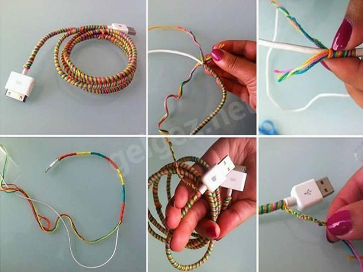 Evde görüntüyü bozan kabloları süsleyerek kapatalım | Renkli iplerle kablo gizleme