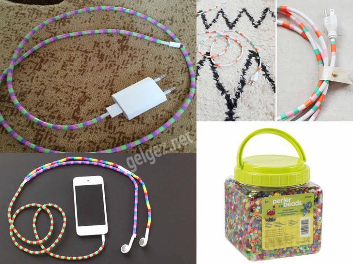 Evde görüntüyü bozan kabloları süsleyerek kapatalım | Renkli boncuklarla kabloları kişiselleştirin