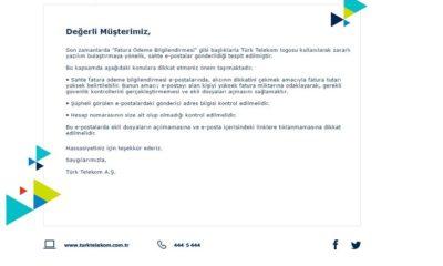 Virüslü Telekom Fatura Postalarına Dikkat!