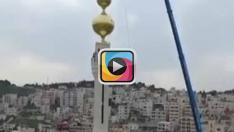 İsrail ezana yasak getirirken Filistin 73 metrelik minareyi yaptı!