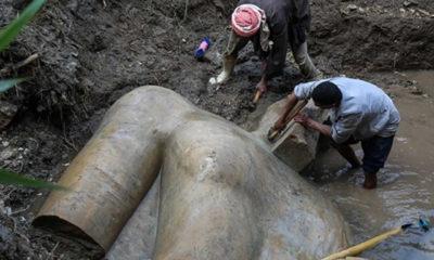 Mısır'da 3 bin yıllık 2 firavun heykeli bulundu!