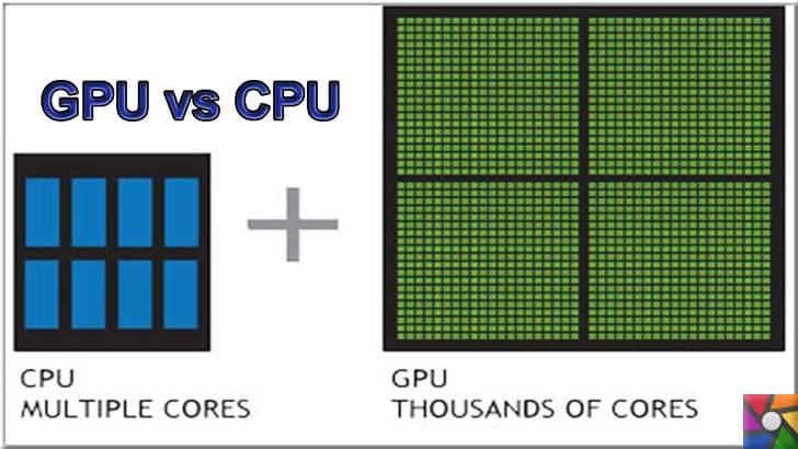 GPU nedir? GPU ne işe yarar? Ekran kartı çeşitleri nelerdir? | CPU bilgisayar işlemcisi, GPU ise ekran karının işlemcisidir. Fotoğrafta arasındaki core farkı gösteriliyor