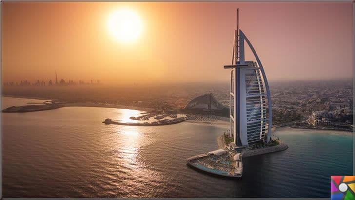 Dünya genelinde en çok turist çeken ilk 6 şehir hangileridir? | Burj Al Arab oteli diğer adıyla Yelken otelin gün batımı manzara fotoğrafı